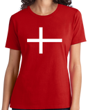 Ladies Red Denmark National Flag - Danish Pride Heritage Copenhagen T-shirt