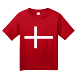 Youth Red Denmark National Flag - Danish Pride Heritage Copenhagen T-shirt