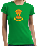 Ladies Green Indian National Emblem - India Heritage Pride Ashoka Lion T-shirt