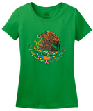Ladies Green Mexican Coat Of Arms - Mexico Pride Tenochtitlan Aztec T-shirt