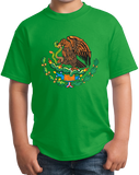 Youth Green Mexican Coat Of Arms - Mexico Pride Tenochtitlan Aztec T-shirt
