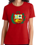 Ladies Red Peruvian Coat Of Arms Flag - Peru Pride Love Cusco Heritage T-shirt