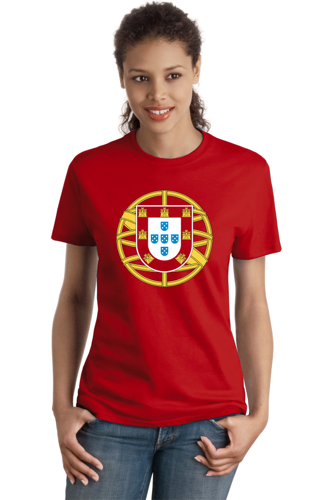 Ladies Red Portuguese Coat Of Arms - Portugal Pride Heritage Love Flag T-shirt