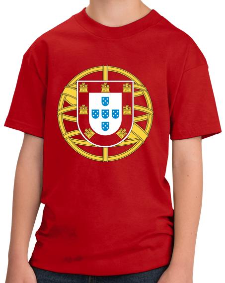 Youth Red Portuguese Coat Of Arms - Portugal Pride Heritage Love Flag T-shirt
