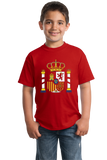 Youth Red Spanish Coat Of Arms - Spain Heritage Pride Love Flag T-shirt