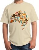 Youth Natural Australia Love - Cute Australia Pride Culture Fun Lover Map T-shirt