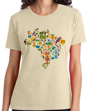 Ladies Natural Brazil Icon Map - Brazilian Pride Culture Cute Map Fun Love T-shirt