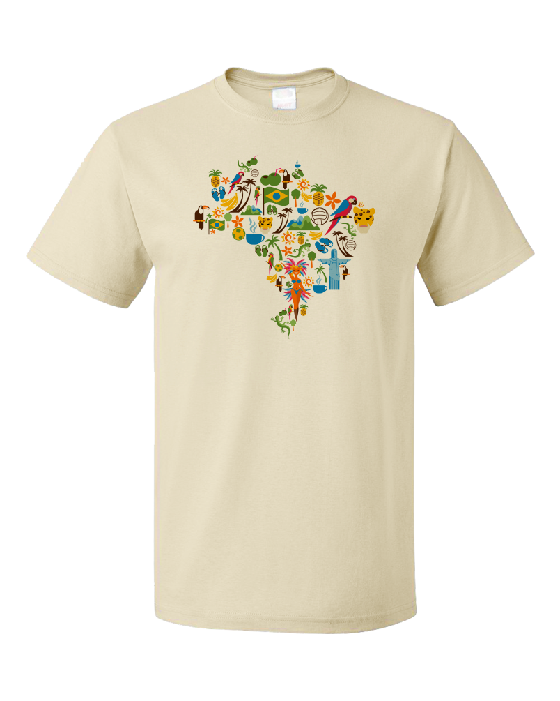 Standard Natural Brazil Icon Map - Brazilian Pride Culture Cute Map Fun Love T-shirt