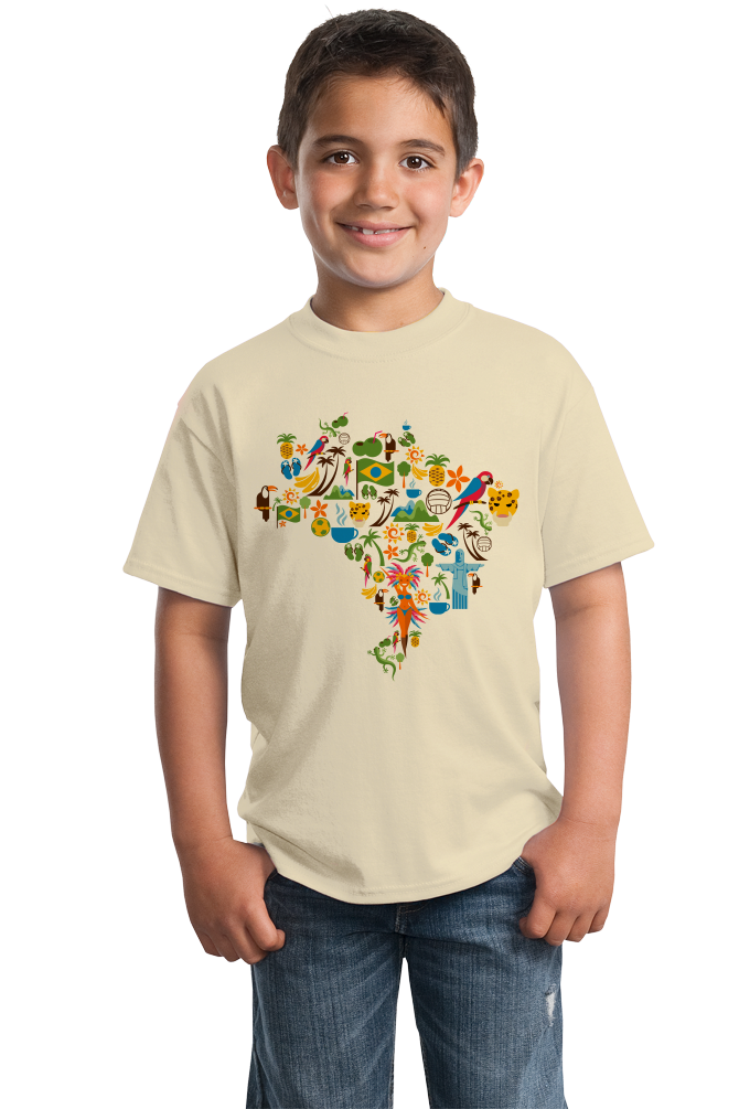 Youth Natural Brazil Icon Map - Brazilian Pride Culture Cute Map Fun Love T-shirt