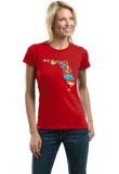 Ladies Red Florida Icon Map - Florida Pride Home Love Culture Cute Fun T-shirt