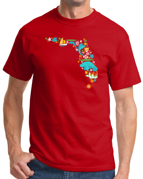 Standard Red Florida Icon Map - Florida Pride Home Love Culture Cute Fun T-shirt