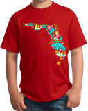 Youth Red Florida Icon Map - Florida Pride Home Love Culture Cute Fun T-shirt