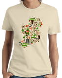 Ladies Natural Irish Iconography Map - Ireland Eire Pride Heritage Cute T-shirt