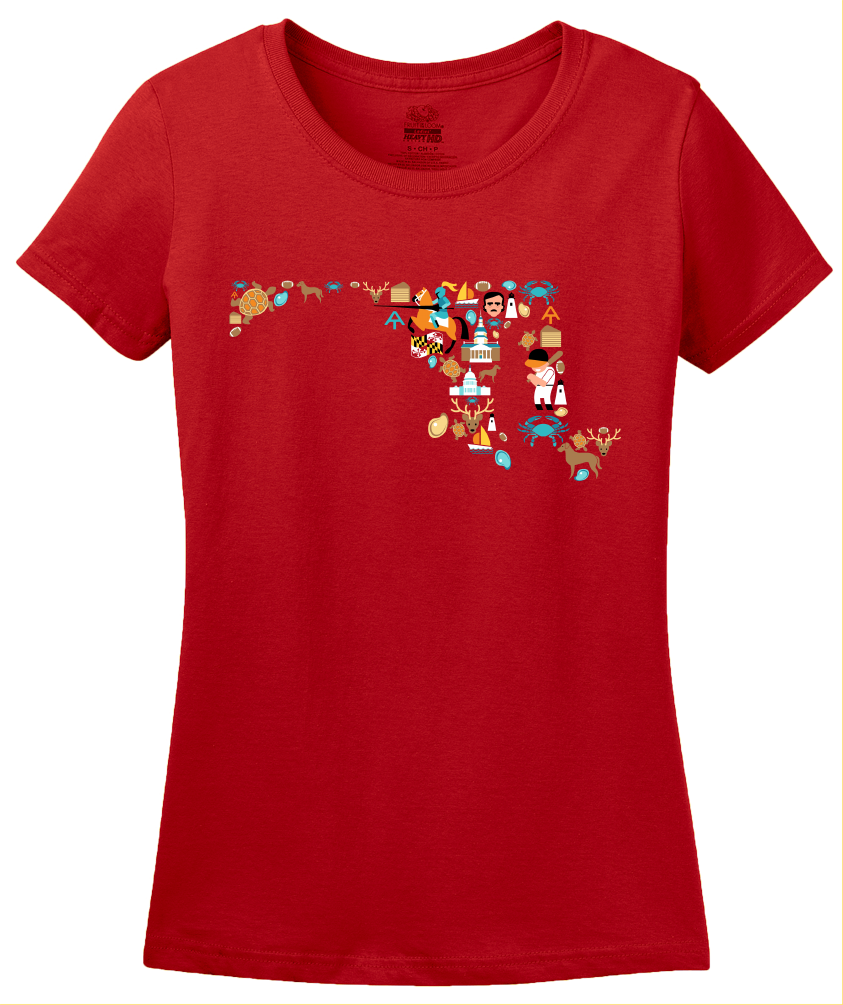 Ladies Red Maryland Icon Map - Maryland Chesapeake Bay Pride Love Heritage T-shirt