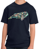 Youth Navy North Carolina Icon Map - Tar Heel State Pride Heritage Love T-shirt