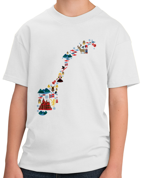 Youth White Norway Icon Map - Norge Nordic Pride Viking Heritage Love T-shirt
