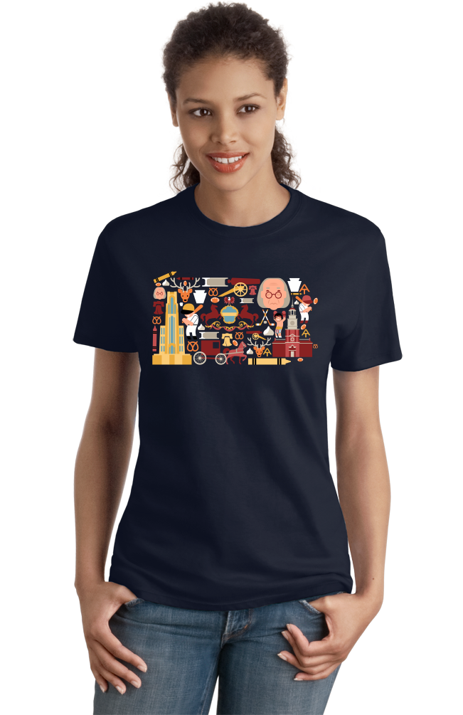 Ladies Navy Pennsylvania Icon Map - Pride Love History Heritage Liberty Bell T-shirt