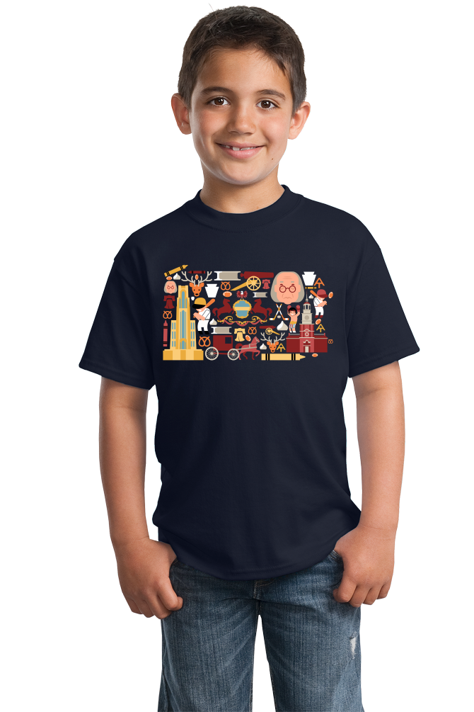 Youth Navy Pennsylvania Icon Map - Pride Love History Heritage Liberty Bell T-shirt
