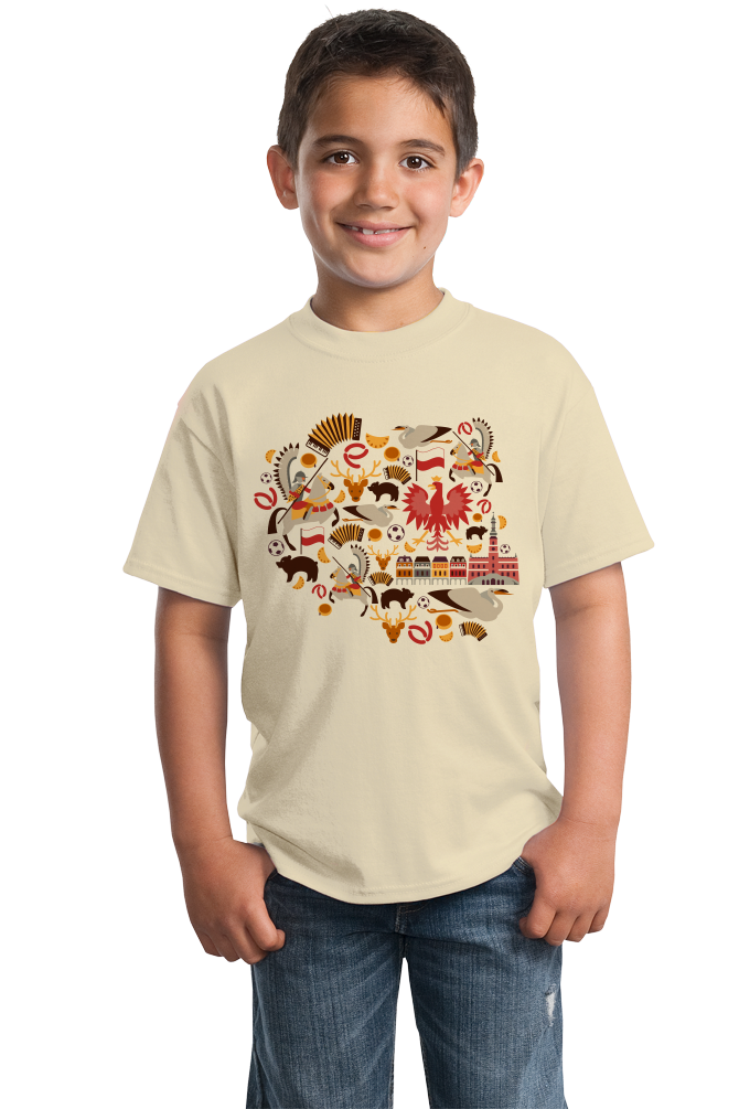 Youth Natural Poland Icon Map - Warsaw Krakow Polska Heritage Pride Love T-shirt