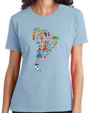 Ladies Light Blue South American Icon Map - Argentina Peru Culture Heritage Love T-shirt