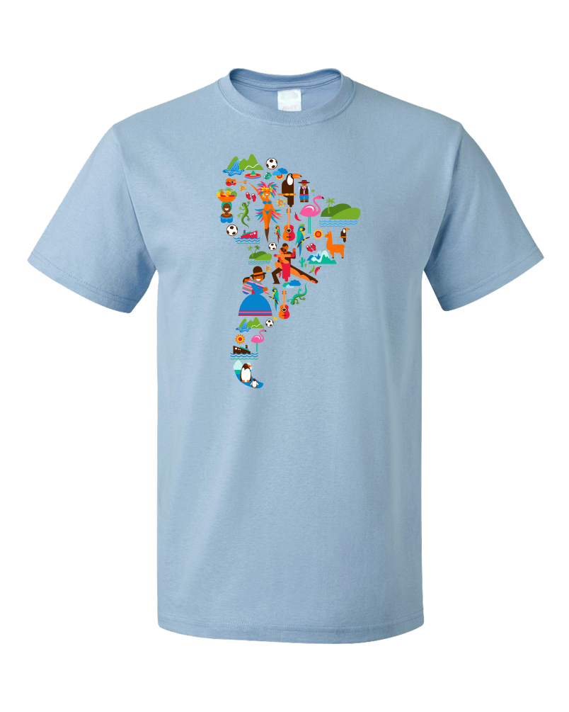 Standard Light Blue South American Icon Map - Argentina Peru Culture Heritage Love T-shirt