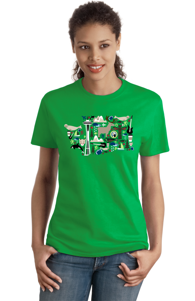 Ladies Green Washington Icon Map - Evergreen State Love Seattle Pride T-shirt