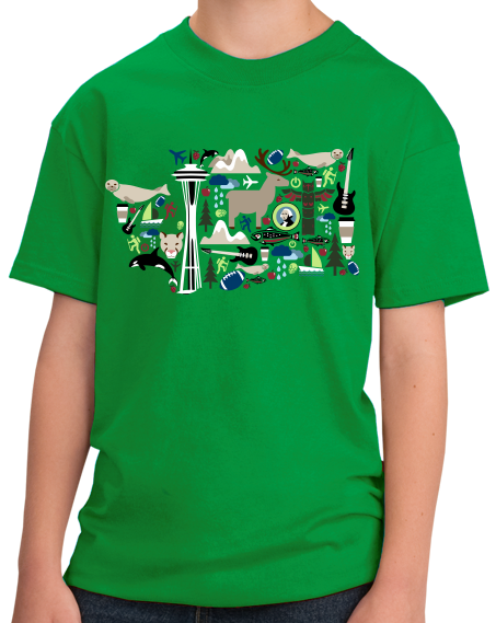 Youth Green Washington Icon Map - Evergreen State Love Seattle Pride T-shirt