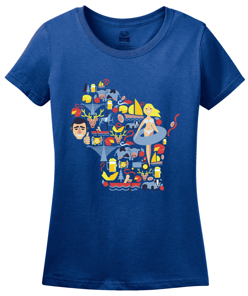 Ladies Royal Wisconsin Icon Map - America's Dairyland Badger State Love T-shirt