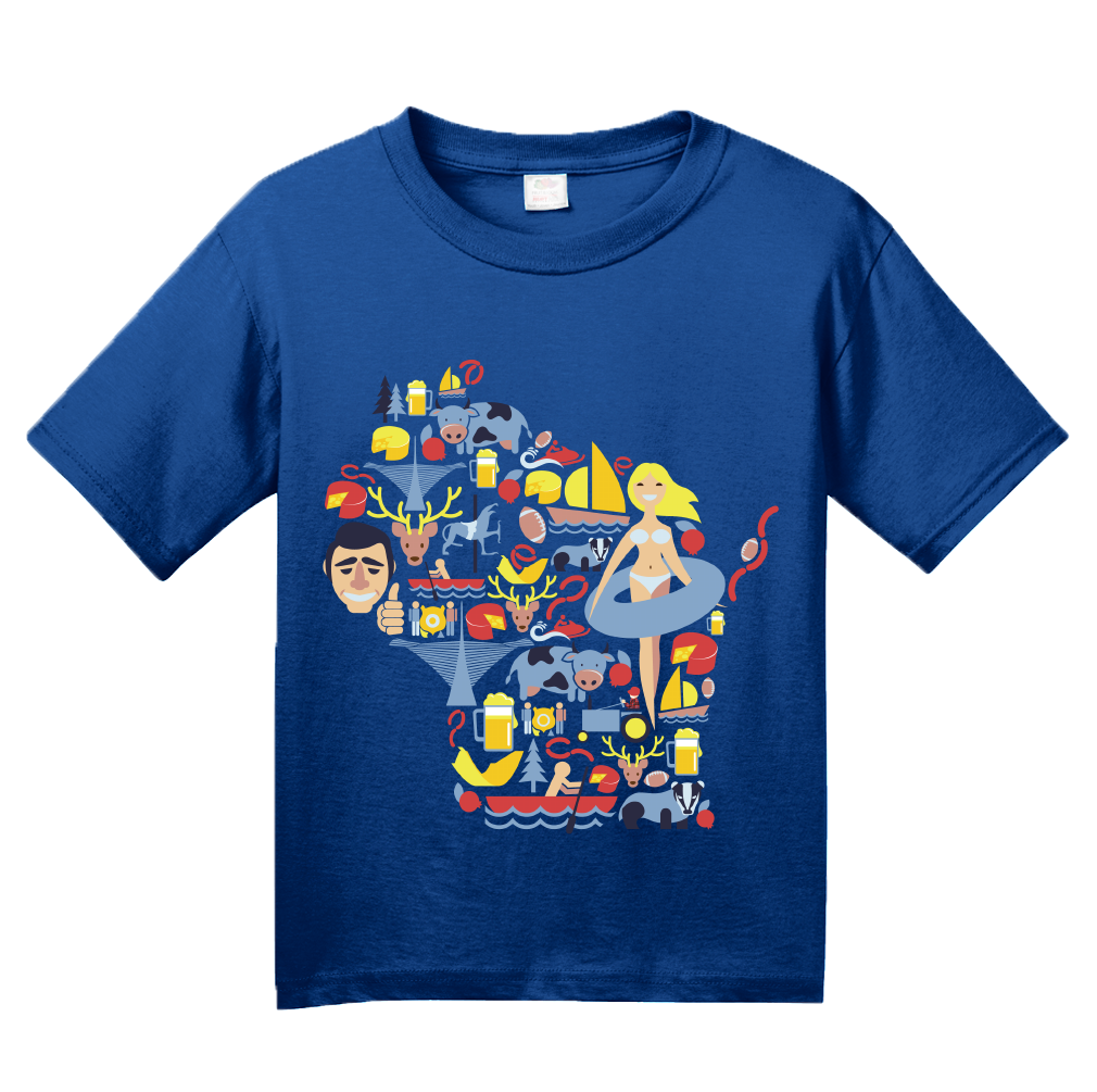 Youth Royal Wisconsin Icon Map - America's Dairyland Badger State Love T-shirt