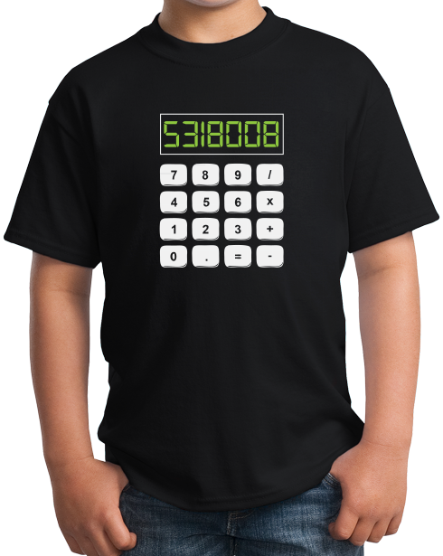 Youth Black 5318008 - Math Joke Nerd Humor Boobies Funny Engineer Calculator T-shirt