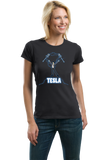 Ladies Black Nikola Tesla Coil - Engineering Funny Electricity AC Humor Nerd T-shirt
