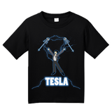 Youth Black Nikola Tesla Coil - Engineering Funny Electricity AC Humor Nerd T-shirt