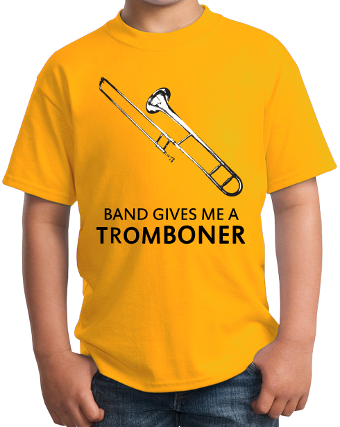 Youth Gold Band Gives Me A Tromboner - Marching Jazz Band Humor Camp Geek T-shirt