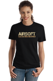 Ladies Black Airsoft: Spread The Welts - Paintball Gun Humor Funny Player T-shirt