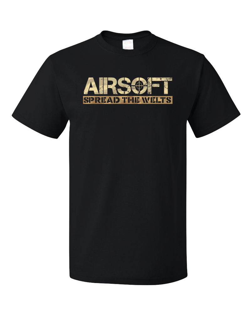 Standard Black Airsoft: Spread The Welts - Paintball Gun Humor Funny Player T-shirt