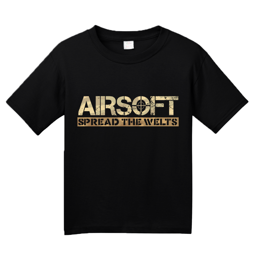 Youth Black Airsoft: Spread The Welts - Paintball Gun Humor Funny Player T-shirt