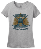 Ladies Grey Abbotts Pond, MA Pond Hockey Old Time T-shirt