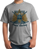 Youth Grey Abbotts Pond, MA Pond Hockey Old Time T-shirt