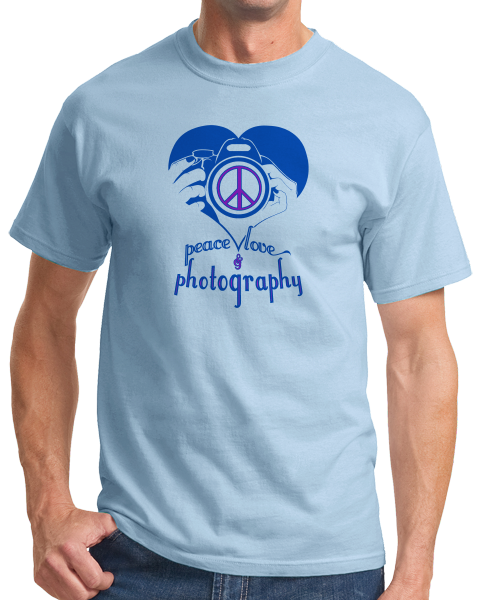 Standard Light Blue Peace, Love, Photography - Photographer Values Funny Pride T-shirt