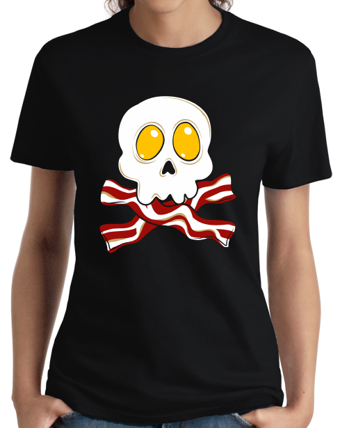 Ladies Black Bacon N' Eggs Skull - Breakfast Humor T-shirt