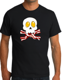 Standard Black Bacon N' Eggs Skull - Breakfast Humor T-shirt