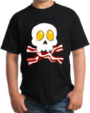 Youth Black Bacon N' Eggs Skull - Breakfast Humor T-shirt