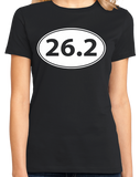 Ladies Black 26.2 Marathon Enthusiast - Marathoner Runner Pride Funny T-shirt