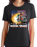 Ladies Black America Fuck Yeah! - Merica Patriotism Funny Merica 4th of July T-shirt