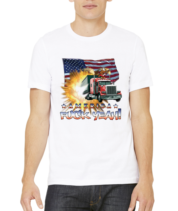 Standard White America Fuck Yeah! - Merica Patriotism Funny Merica 4th of July T-shirt