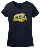 Ladies Navy Ann Arbor Rock - University of Michigan Landmark Funny Pride T-shirt