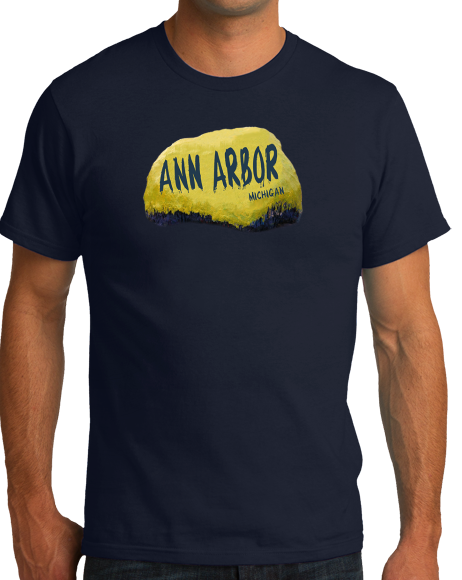 Standard Navy Ann Arbor Rock - University of Michigan Landmark Funny Pride T-shirt