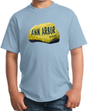 Youth Light Blue Ann Arbor Rock - University of Michigan Landmark Funny Pride T-shirt