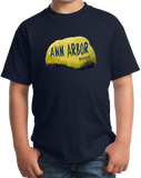 Youth Navy Ann Arbor Rock - University of Michigan Landmark Funny Pride T-shirt