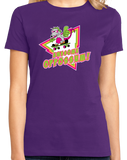 Ladies Purple Awesome Oppossum! - Funny 80s Nostalgia Skateboarding Joke T-shirt